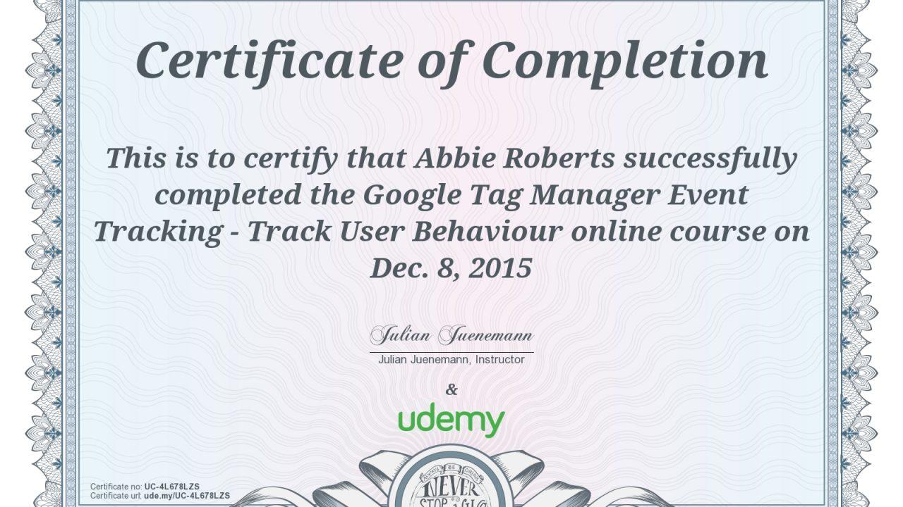 Certificates A L Roberts Digital Ppc Services