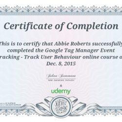 Udemy certificate - Abbie Roberts