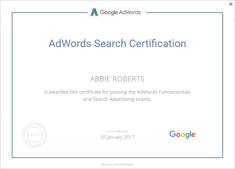 Adwords Search Certificate - Abbie Roberts