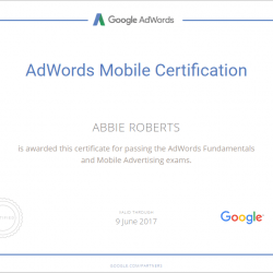 Adwords Mobile Certificate - Abbie Roberts