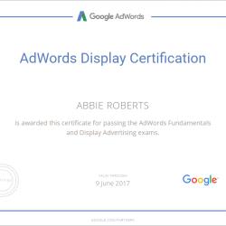 Adwords Display Certificate - Abbie Roberts