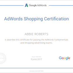 Adwords Shopping Certificate - Abbie Roberts